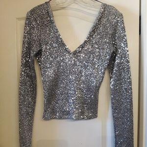 Zara Silver Sequin V Neck Size M